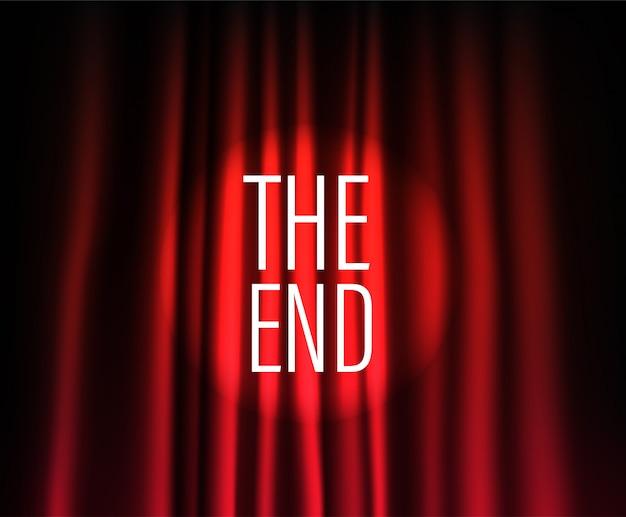 円形スポットライト付きの劇場の幕。終わり