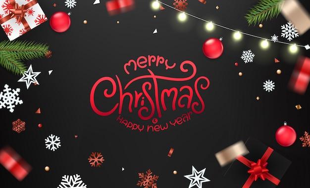 Рождественские пожелания рождественские элементы на черном столе