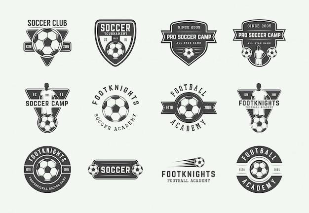 ビンテージサッカーやサッカーのロゴのセット