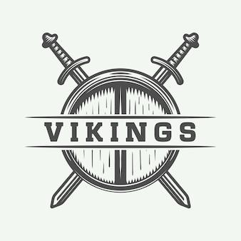 Викинги логотип, ярлык, эмблема, значок
