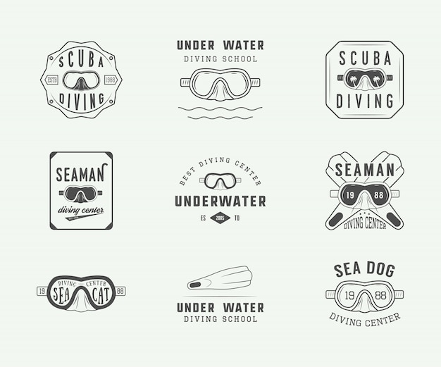 Набор старинных логотипов подводного плавания