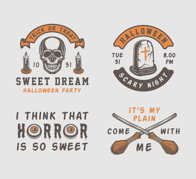 Урожай ретро хэллоуин логотипы, эмблемы, значки, наклейки, марки, патчи
