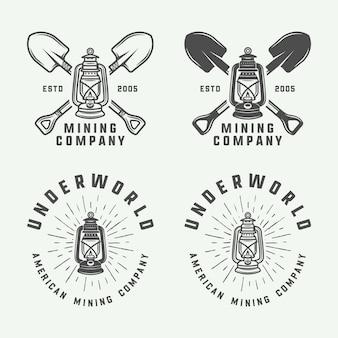 レトロな鉱山や建設のロゴ、バッジ、エンブレム、ビンテージスタイルのラベルのセット。モノクログラフィックアート。