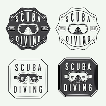 Набор логотипов для дайвинга, этикетки