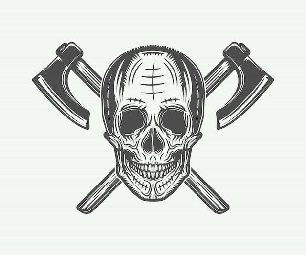 Винтажное тату с черепом викингов