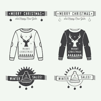 メリークリスマスまたは冬の販売ロゴ