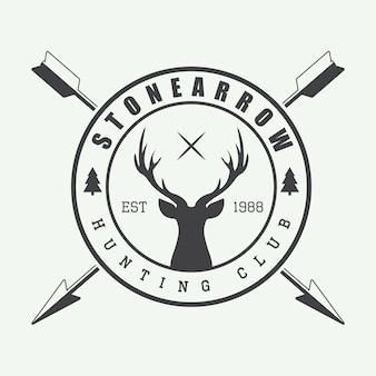 ビンテージスタイルの狩猟のロゴ。
