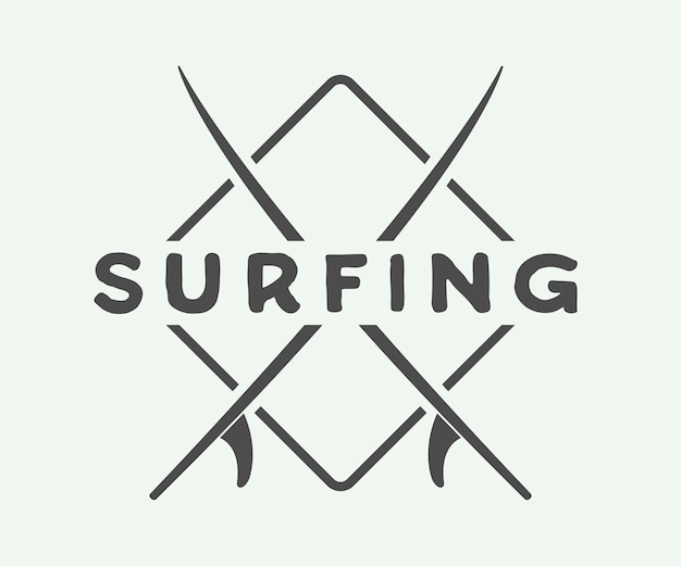 サーフィンのロゴ、ラベル、バッジ