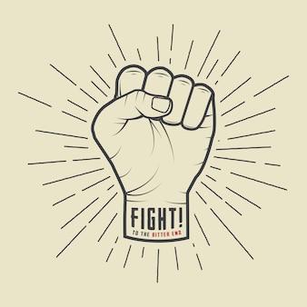 ビンテージスタイルのサンバーストと拳します。