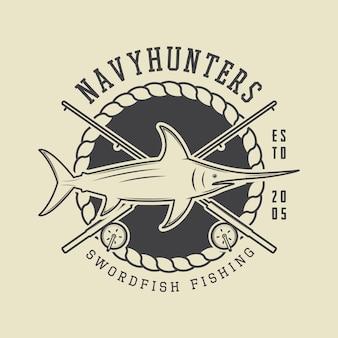 Винтажный рыболовный знак