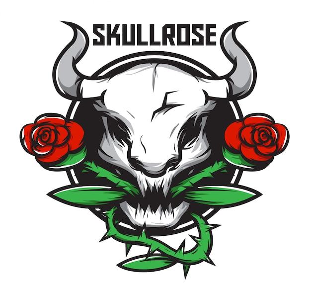 Голова быка животное с красной розой векторная иллюстрация