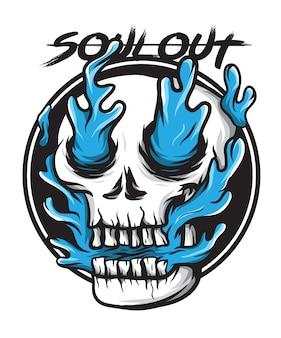 Синий огненный череп душа