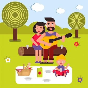 ピクニック背景イラストの若い幸せな家族