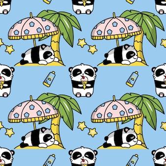 Панда каваи бесшовные цвет рисунка
