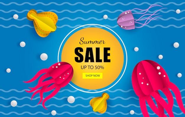 Летние продажи морской баннер