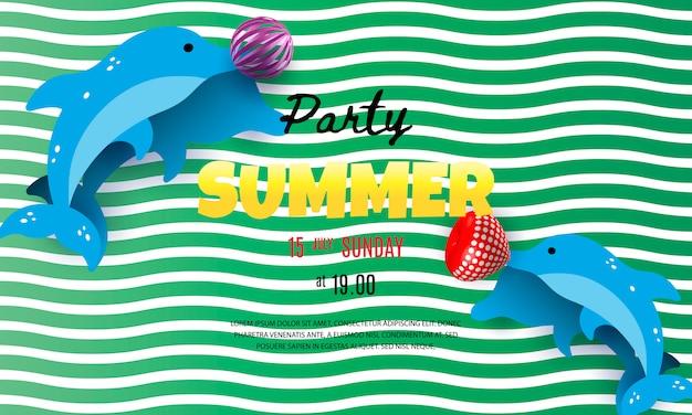 イルカと夏のパーティーポスターテンプレート