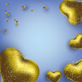 ハート型の金色の風船で誕生日グリーティングカードの背景