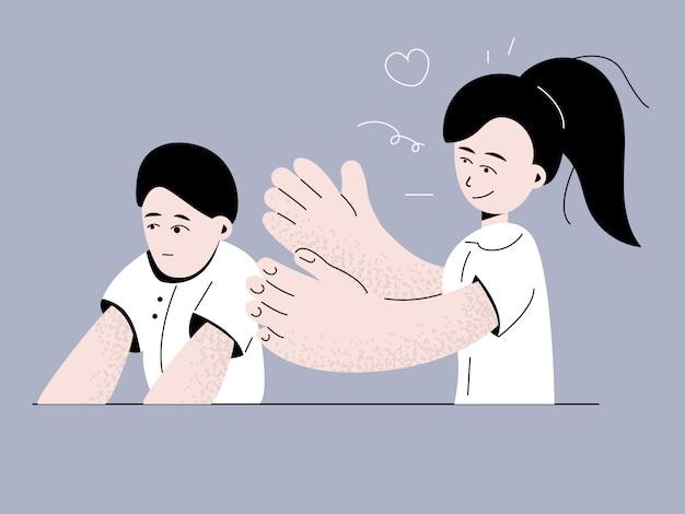 子供のイラストの自閉症症候群