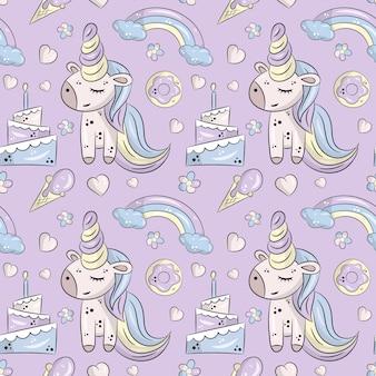 かわいいユニコーン誕生日のシームレスパターン