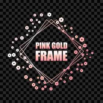 Розовое золото металлик реалистичная квадратная рамка