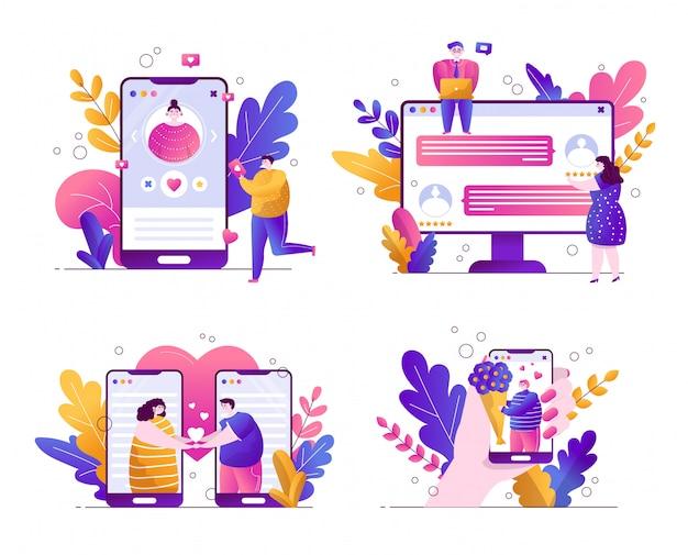 オンラインデートのためのアプリのイラストのセット