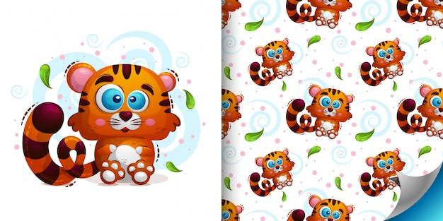動物の虎とのシームレスなパターンのセット