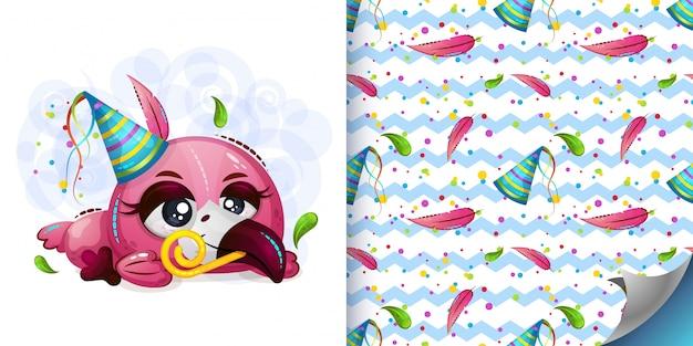 かわいいフラミンゴとパターンのイラスト