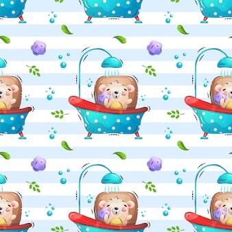浴室パターンのハリネズミ