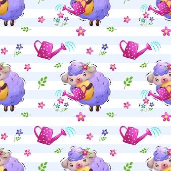 かわいい羊の女の子が花のパターンを注ぐ