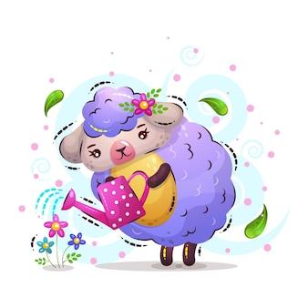 かわいい羊の女の子が花を注ぐ