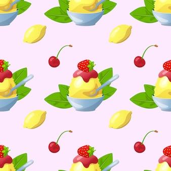 日本のデザートカキゴリアイスクリームイラストパターン