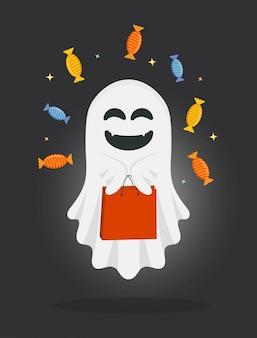 Милый мультфильм призрак с сумкой и конфетами.