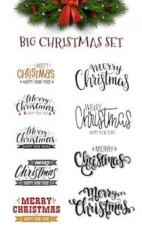 Рождественская надпись и рождественская елка с бантом