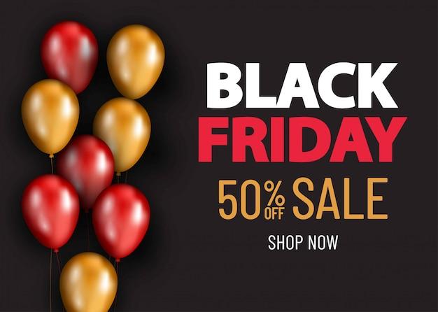 Черная пятница продажа баннер с воздушными шарами. торговое предложение баннер