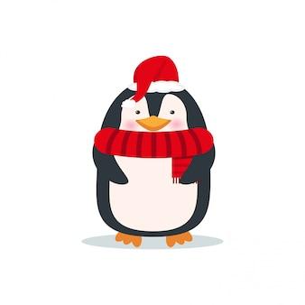 Милый пингвин в санта шляпу и шарф. рождественский мультипликационный персонаж. новогодняя открытка
