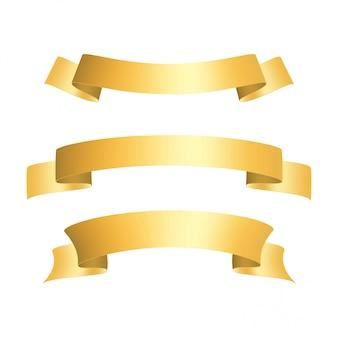 黄金の光沢のあるリボンバナーセット。プロモーション要素。グリーティングカードのリボン
