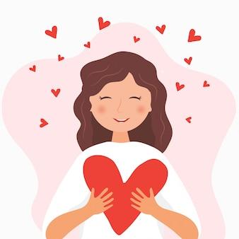 かわいいキャラクターのロマンチックなイラスト。心で微笑んでいる女の子。幸せなバレンタインデー
