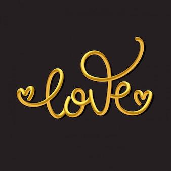 愛。黄金の手描き書道