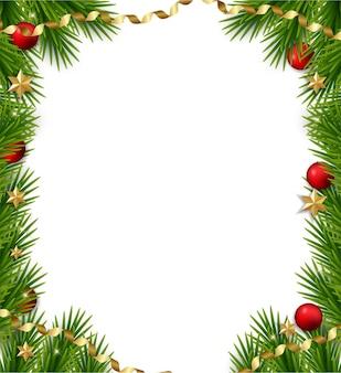 Новогодняя рамка с еловыми ветками