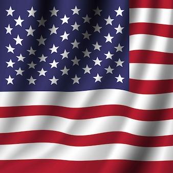 アメリカ合衆国の旗を振っています。愛国的な