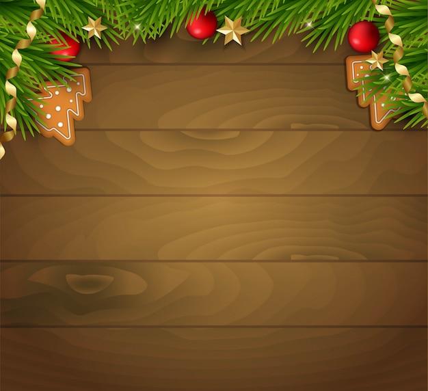 クリスマスツリーや装飾品のウッドテクスチャ