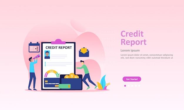 個人の信用スコア情報と財務格付けのランディングページ