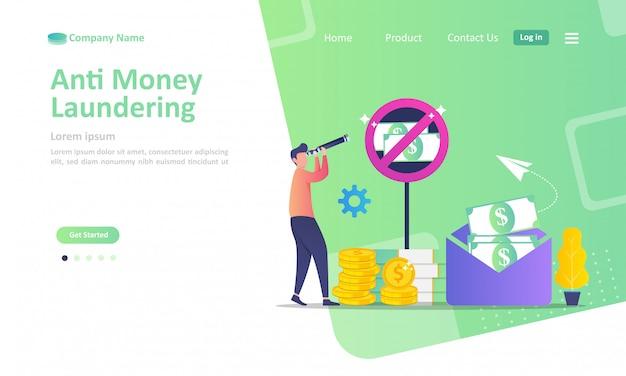 腐敗の停止と違法なビジネスのランディングページテンプレート