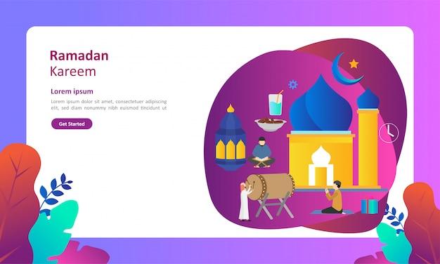 ラマダンカリーム人のキャラクターとフラットなデザインの挨拶