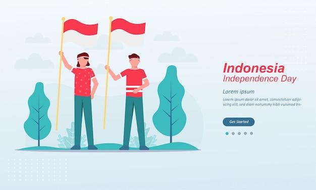 幸せなインドネシア独立記念日ランディングページテンプレート