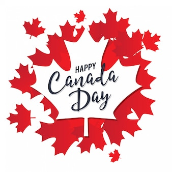 カエデの葉と幸せなカナダ日ベクトルテンプレート
