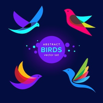Набор современных абстрактных птиц логотип шаблонов