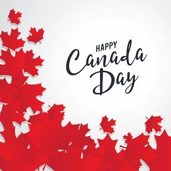 Счастливый день канады вектор шаблон с кленовыми листьями