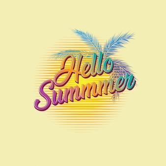 レトロなタイポグラフィサインこんにちは夏