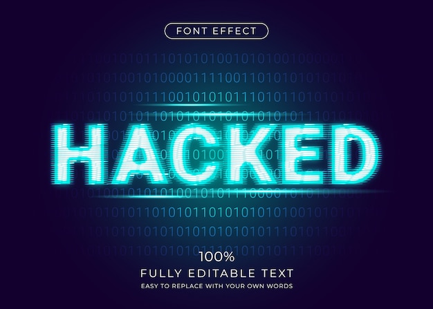 Хакер глюк эффект с цифровой фон двоичного кода. редактируемый стиль шрифта